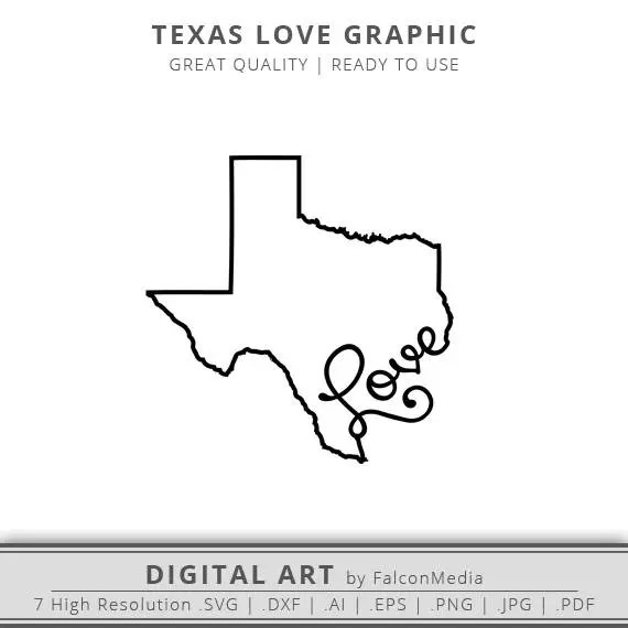 Download Texas Love State Graphic Texas Silhouette Texas SVG Cut