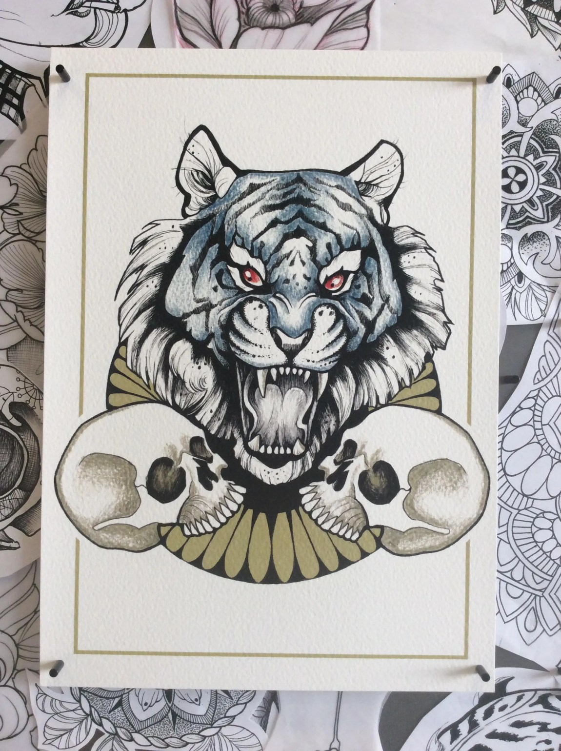 A4 Tiger and Two Skulls G...