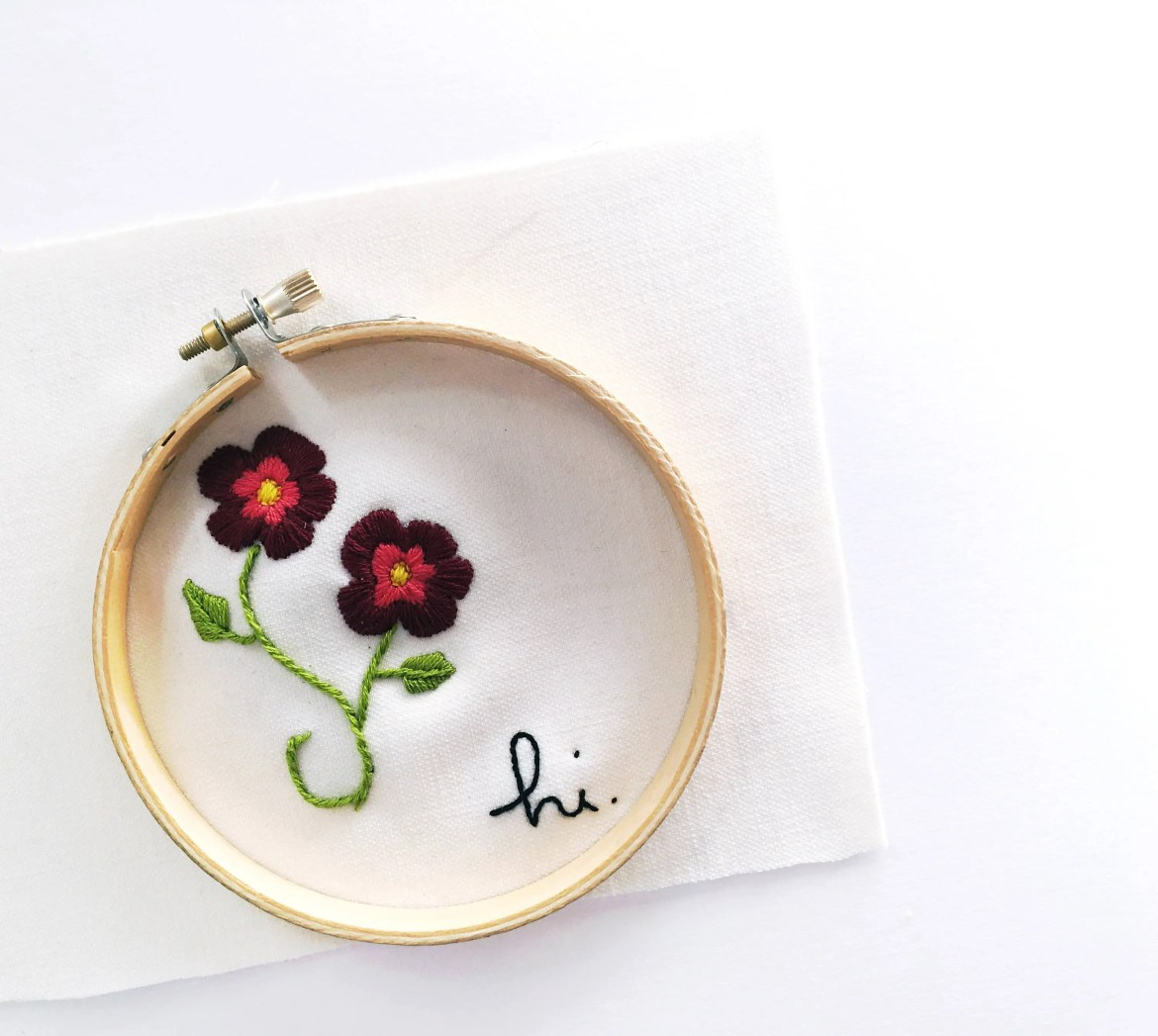 Hi. // Hand Embroidered F...
