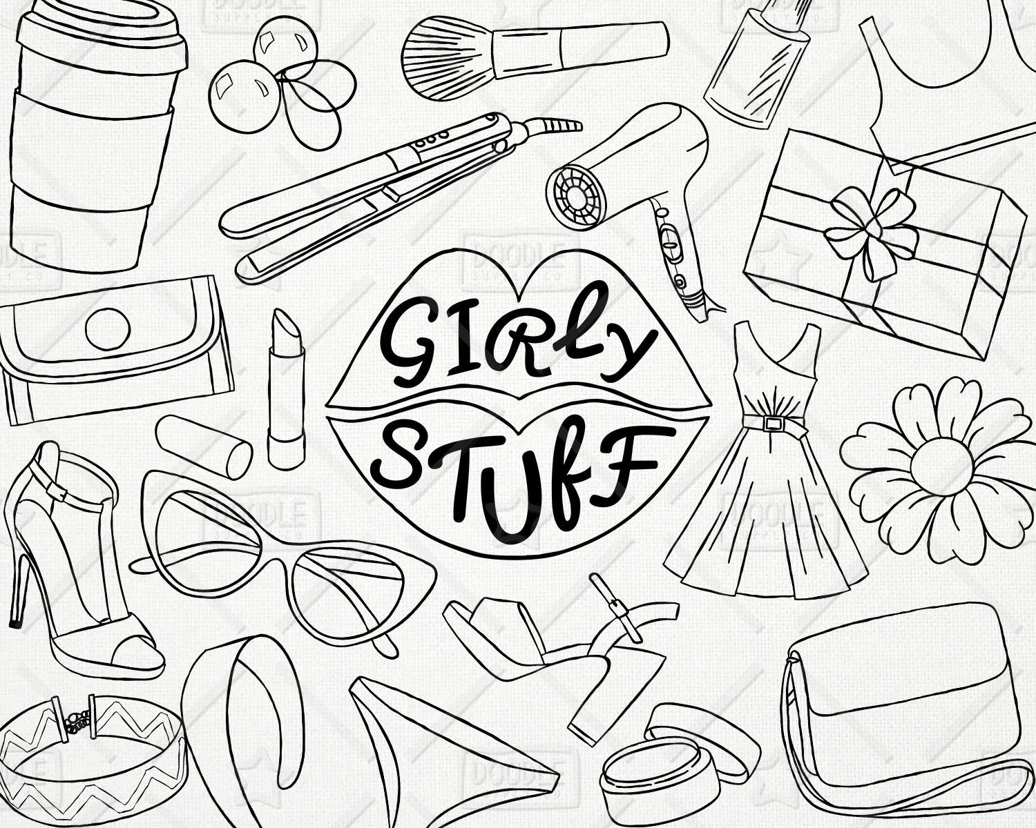 Doodle Girly Stuff Vector Pack Girly Things Girly