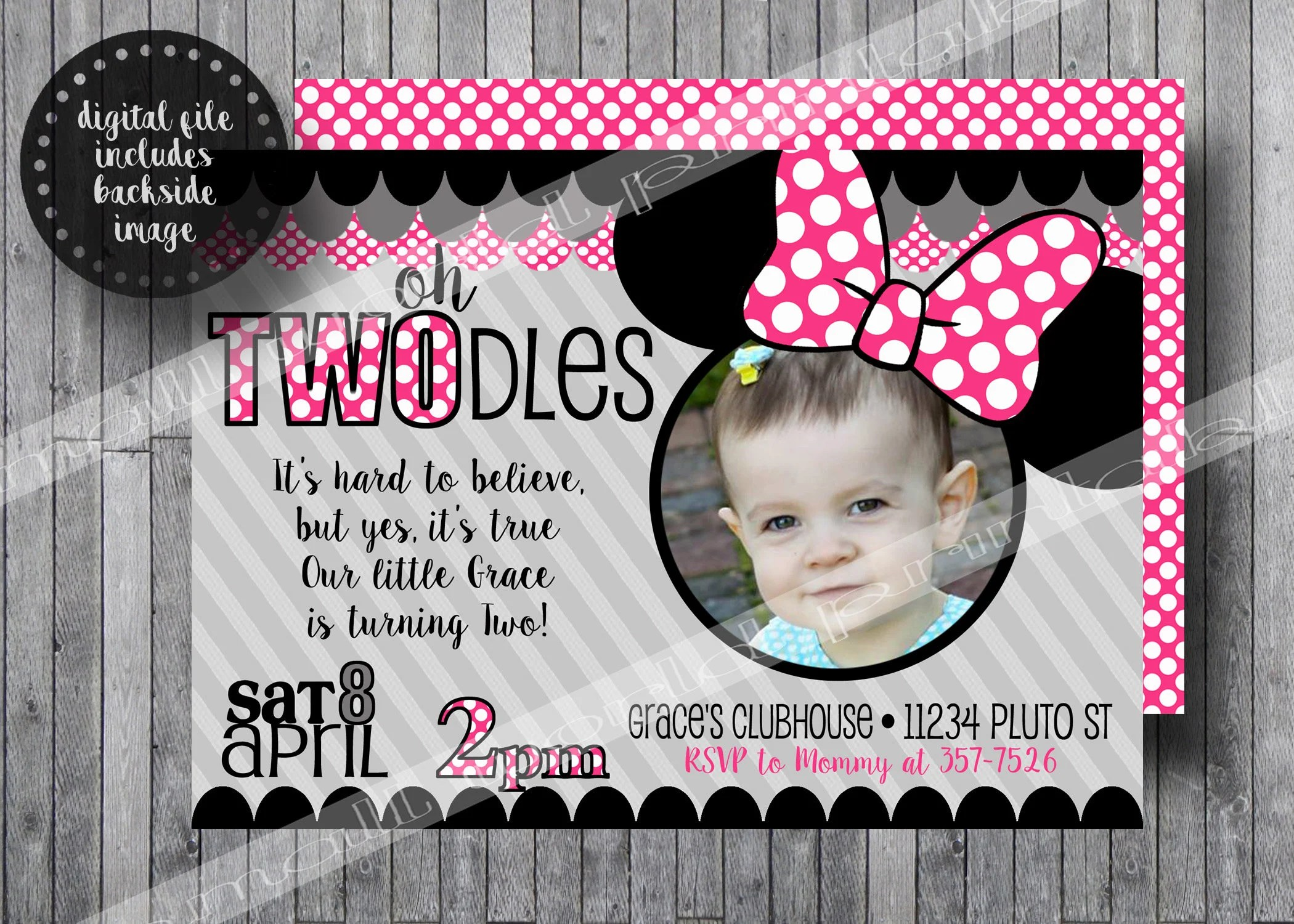 twodles birthday invitation