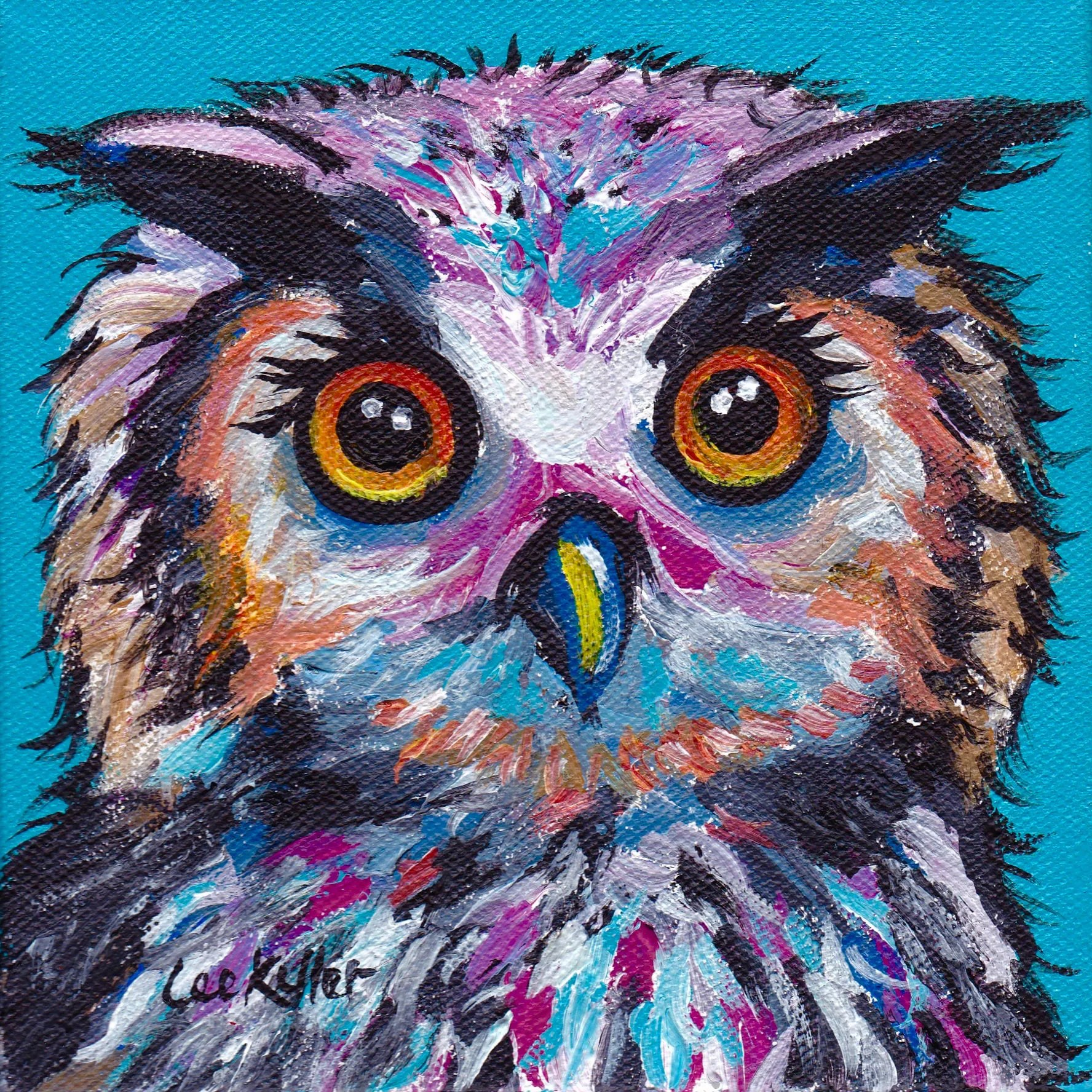 Colorful Owl Art Print Owl Art Print Colorful Owl Prints