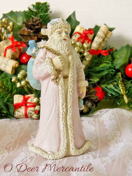 Shabby Chippy Pink Robed Santa Figurine Made in Taiwan For Midwest Importers of Cannon Falls Inc.