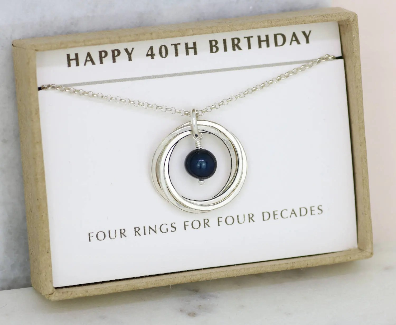 40th Birthday Idea Black Pearl Necklace Silver June Birthday