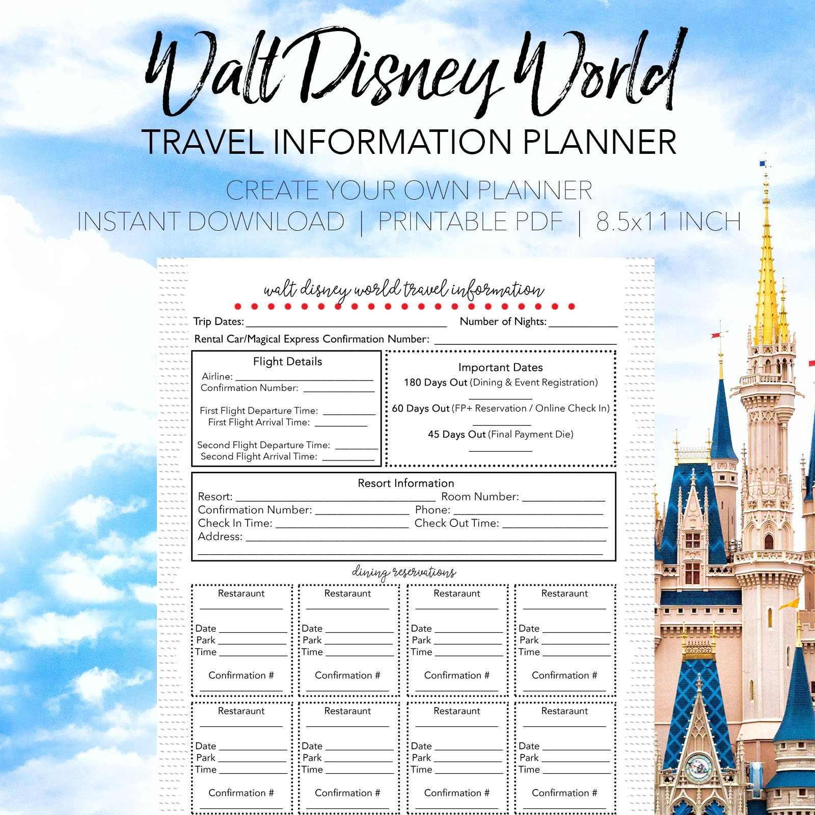 Disney Travel Info Trip Guide Create Your Own Printable Walt