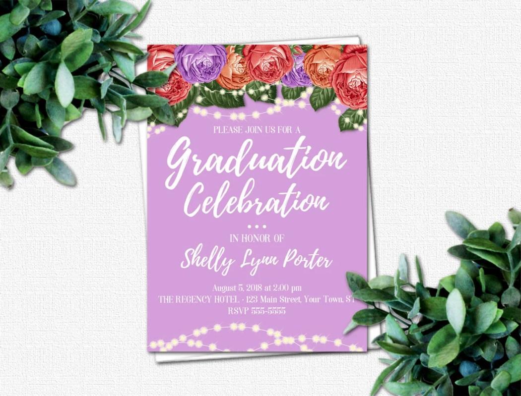 DIY High School Graduation Invitation - PRINTABLE Invitations - College Graduation Invitation - Grad Party Invitations | Roses & Sparkles 2