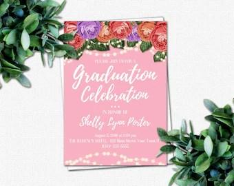 College Graduation Invitation - DIY High School Graduation Invitation - PRINTABLE Invitations - Grad Party Invitations | Roses & Sparkles 2