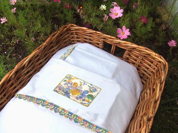 Baby bedding set for cradle, hand painted with nostalgic countryside flowers READY TO SHIP