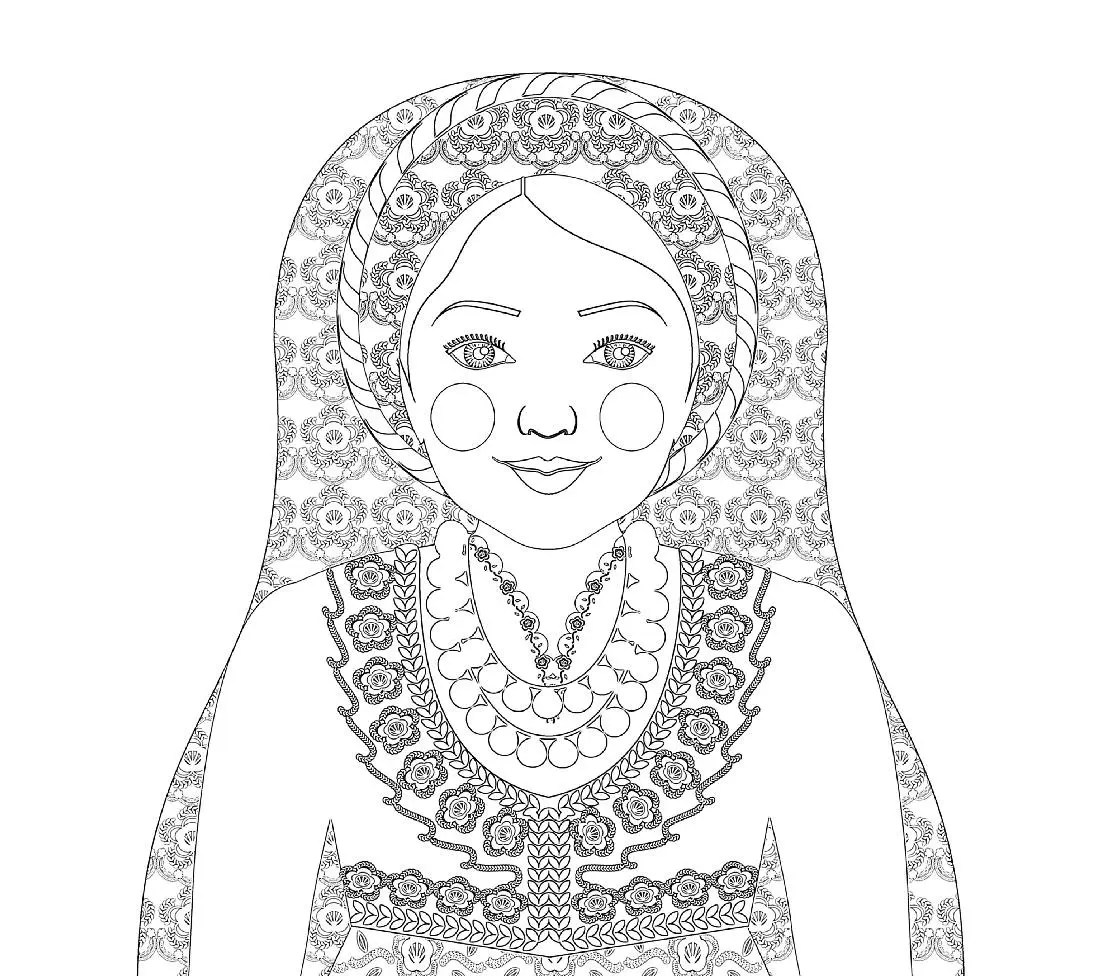 Greek Matryoshka Coloring Sheet Printable File