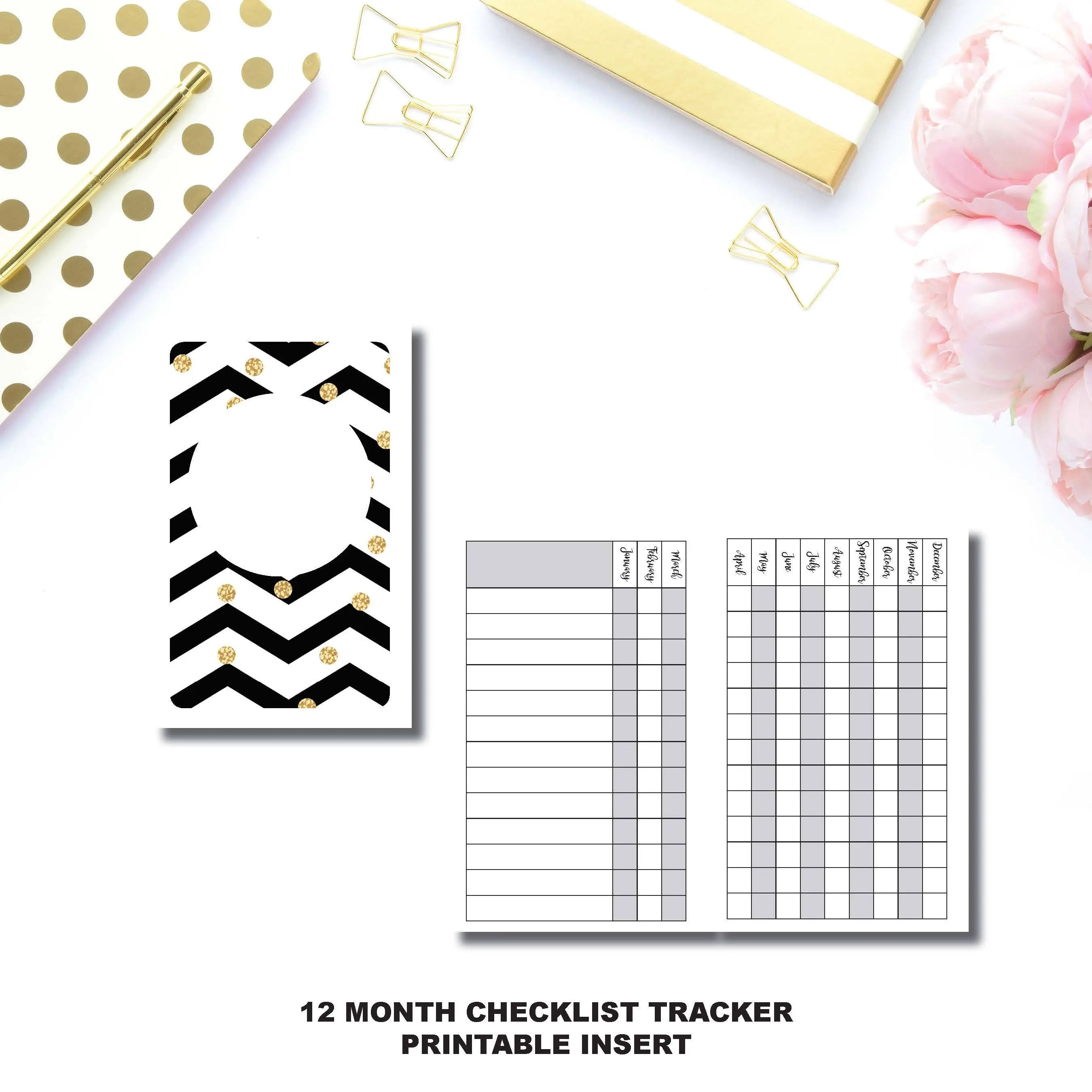 B6 Size 12 Month Checklist Tracker Printable Insert