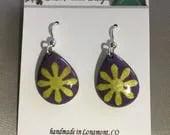 Purple Enamel Earrings, y...