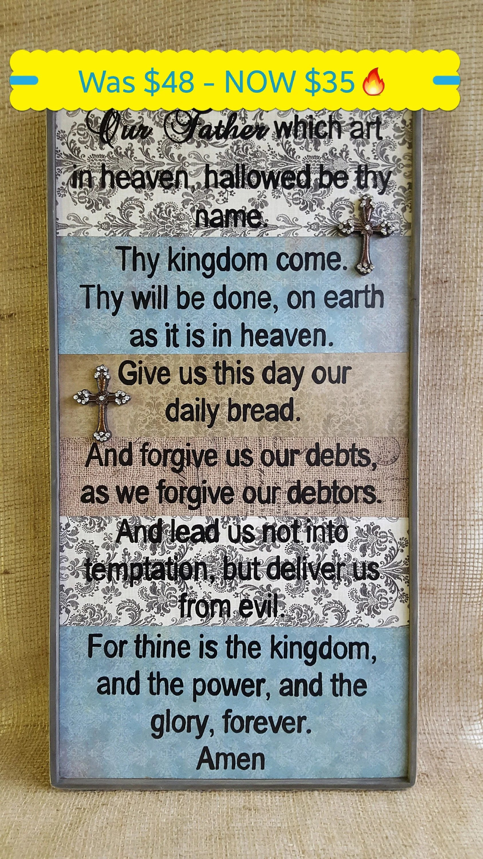 The Lord S Prayer Rustic Sign Our Father Which Art In