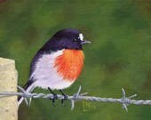 Bird on Barbed Wire 5x7 A...