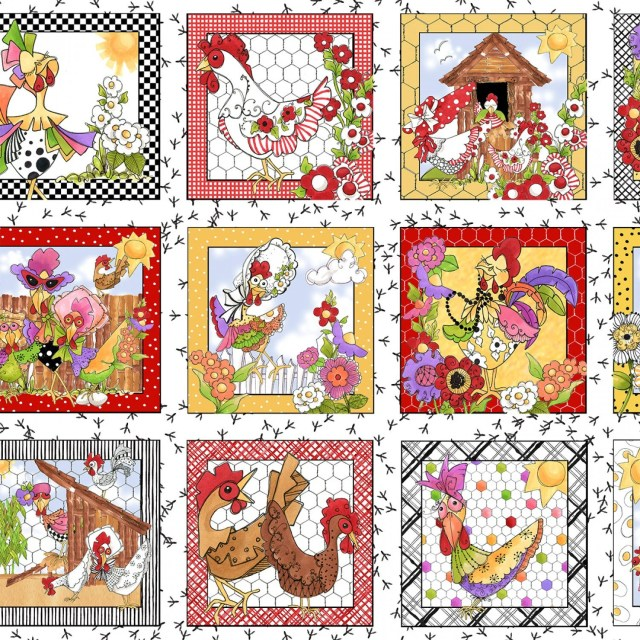 Chicken Fabric, Fanciful ...