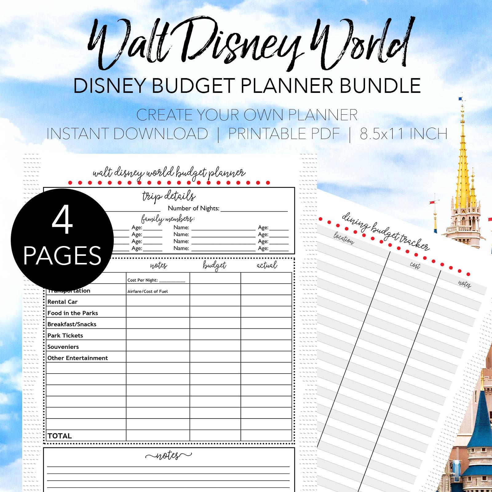 Disney World Ultimate Budget Planner Print Your Own Disney