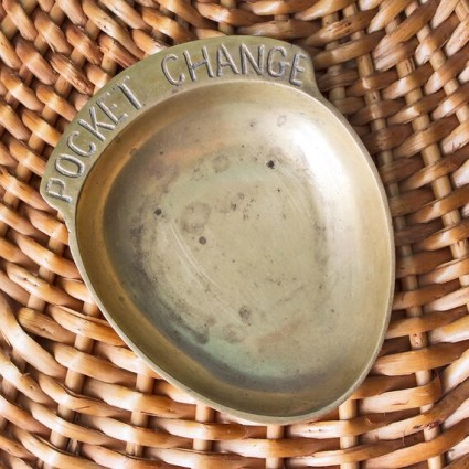 Brass *Pocket Change* Trinket Dish : Vintage Catch-All Dish for Change Jewelry Keys Made in India