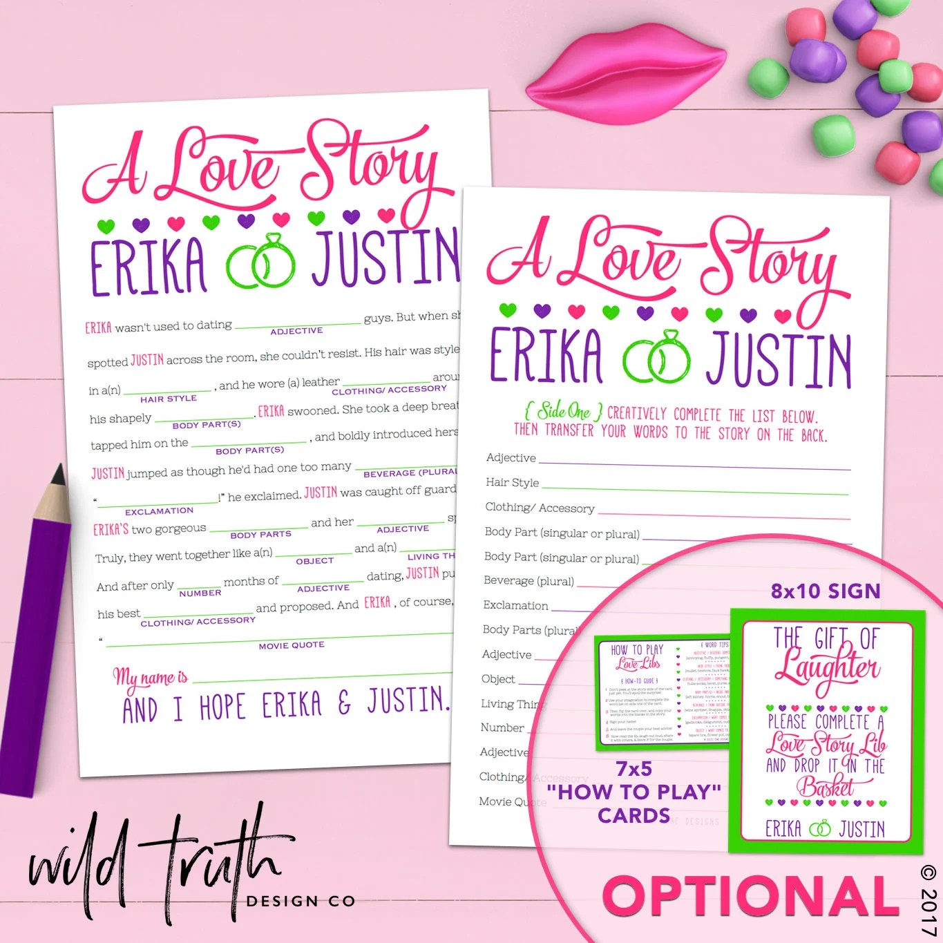 Funny Bridal Shower Mad Lib Love Story Bachelorette Game