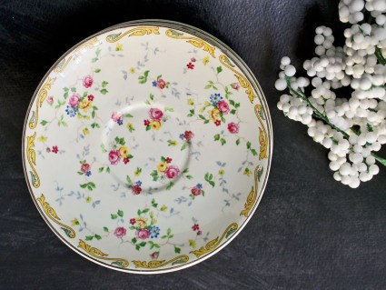 Floral Chintz Saucers Taylor Smith Taylor Company: Four Red and Blue Floral With Scrolls TST 407