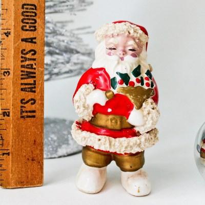 Vintage Lefton or Napco Santa Claus Figurine: Spaghetti Trim, Made in Japan, 1950s Vintage Christmas Figurine Décor