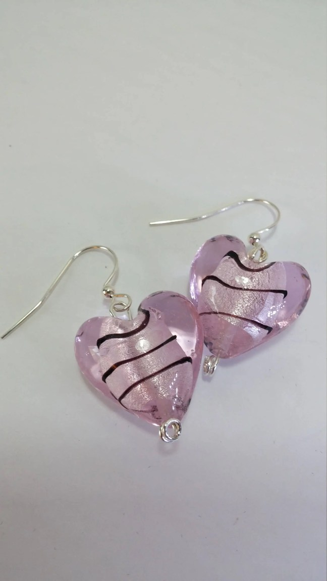 Pink and Purple Heart Ear...