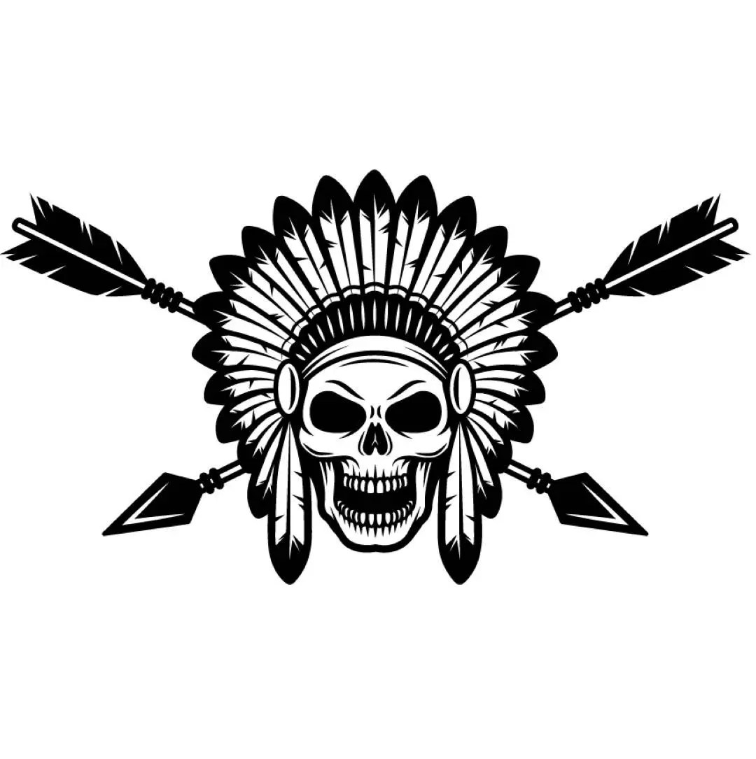 Indian Logo 1 Native American Warrior Skull Axe Headdress