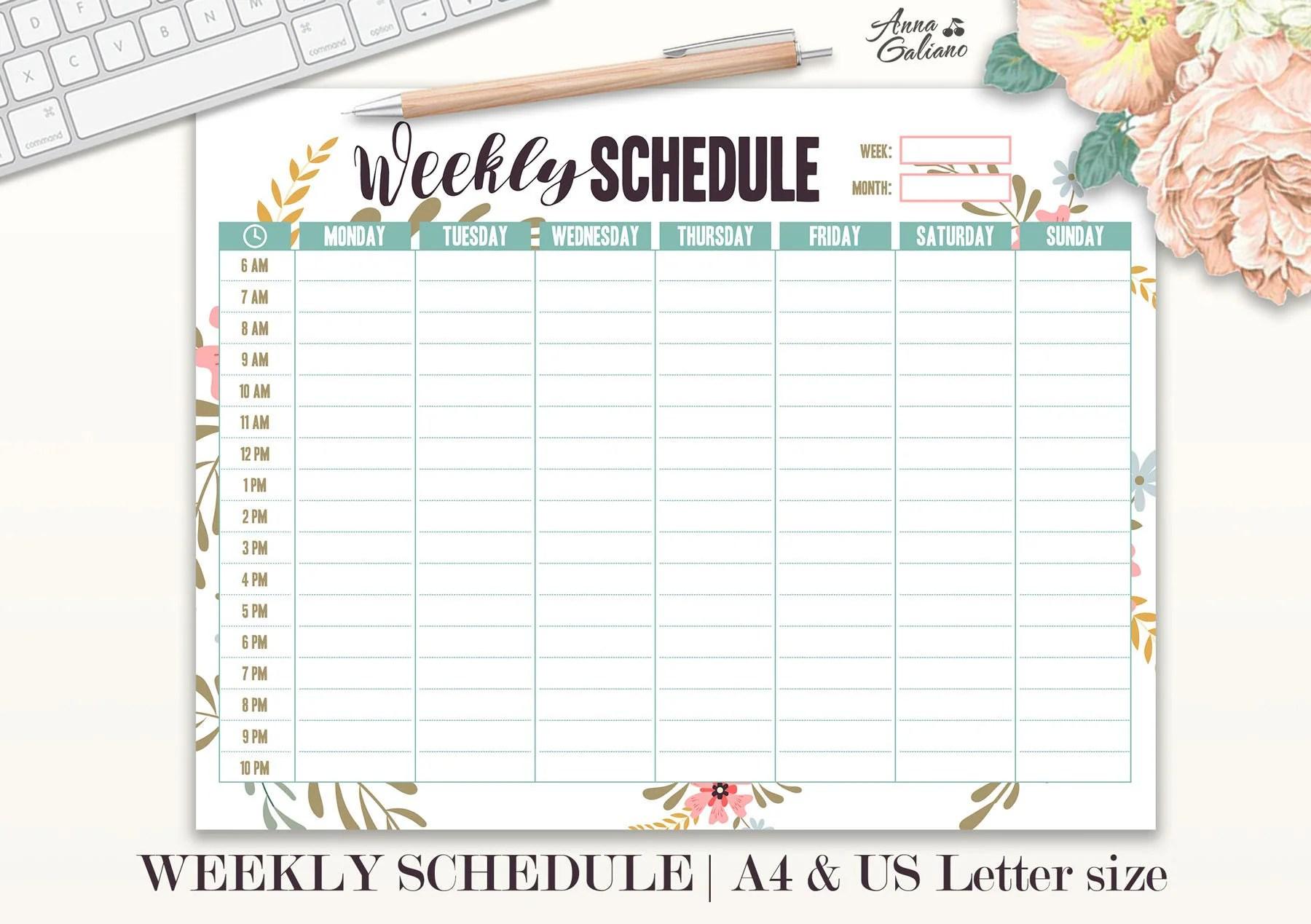 Weekly Schedule Printable Hourly Planner Weekly Organizer