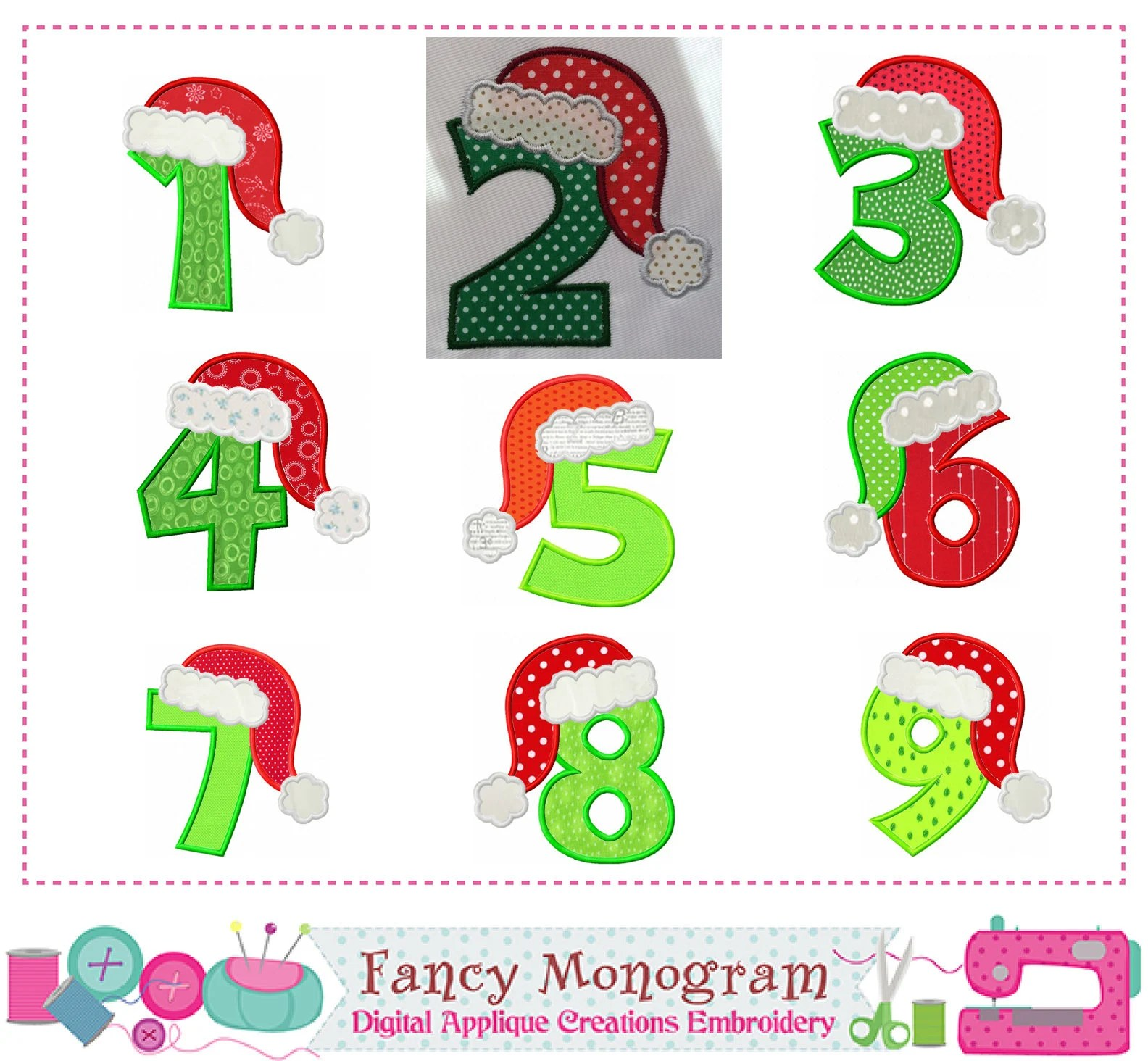 Christmas Numbers Appliquesanta Hat Numbers