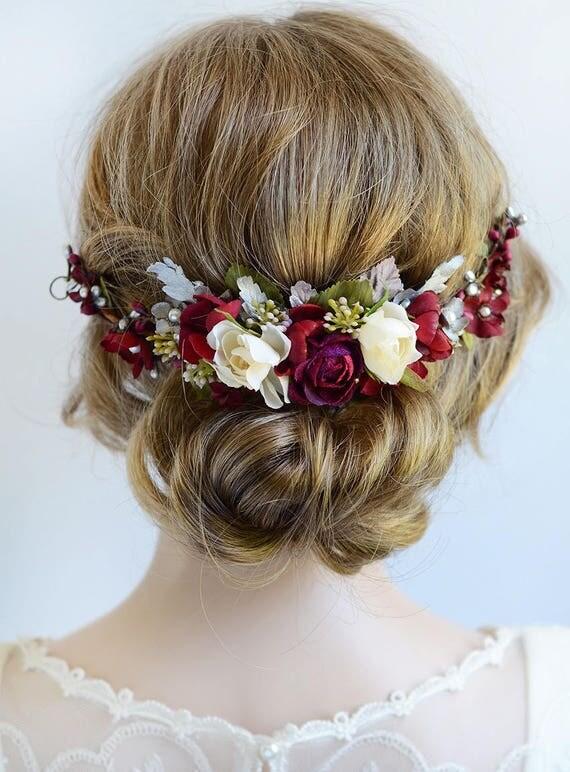 Burgundy Headpiece Floral Hair Piece Burgundy And Silver