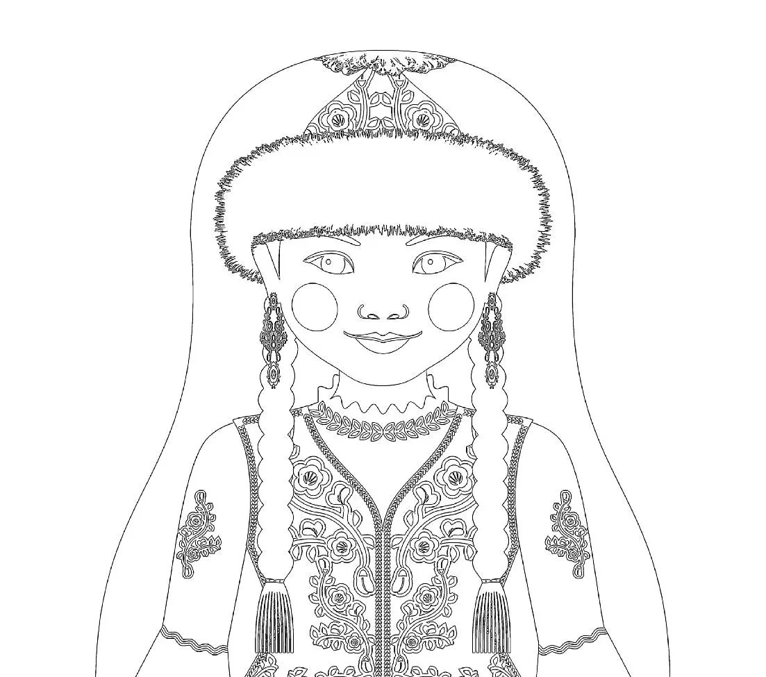 Kazakh Matryoshka Coloring Sheet Printable File