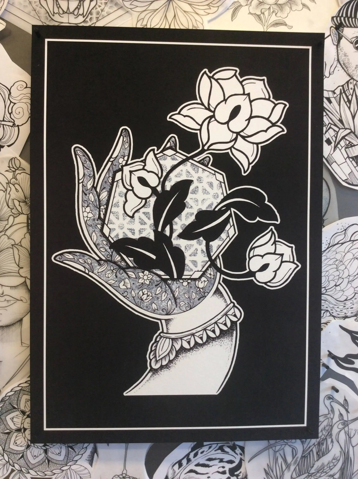 A3 Black Mudra Hand with ...