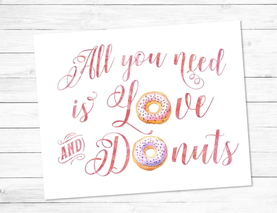Download All you need is Love and Donuts Printable art pink