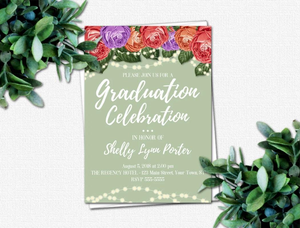 High School Graduation Invitation - PRINTABLE Invitations - College Graduation Invitation - DIY Grad Party Invitations | Roses & Sparkles 2