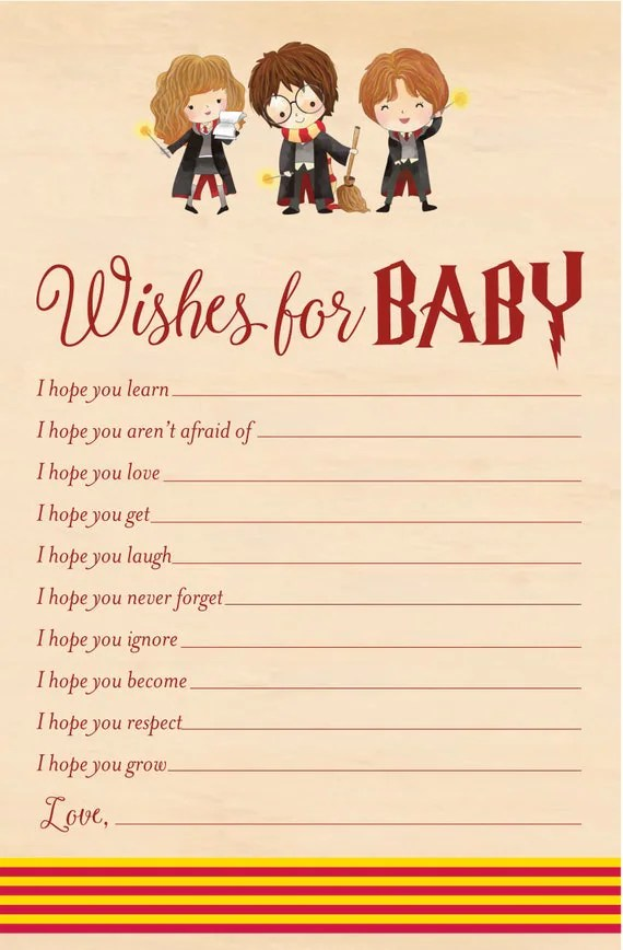 Harry Potter Wishes for Baby - Baby Shower Printable - Harry Potter Printable - Cute Harry Potter Baby Shower - Immediate Digital Download