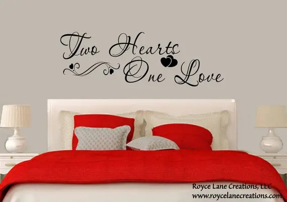 bedroom wall decal two hearts one love bedroom decal bedroom