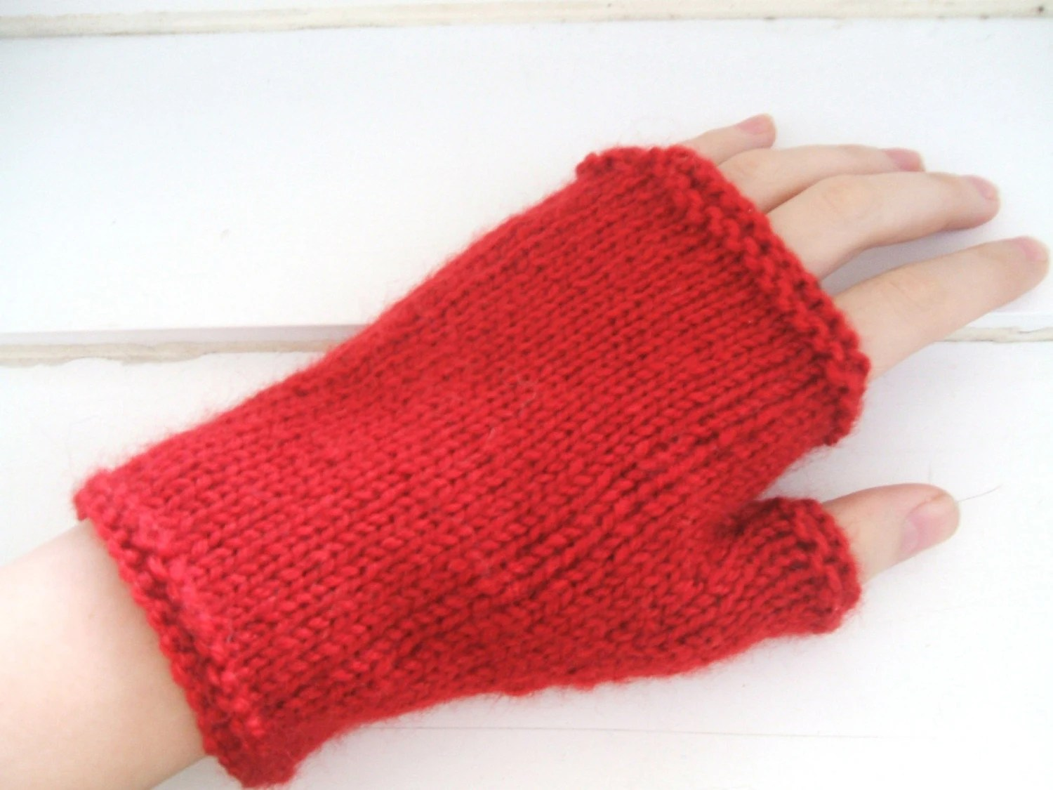 Red Fingerless Mittens