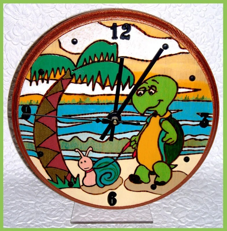 Round Turtle Tabletop Clock with Stand