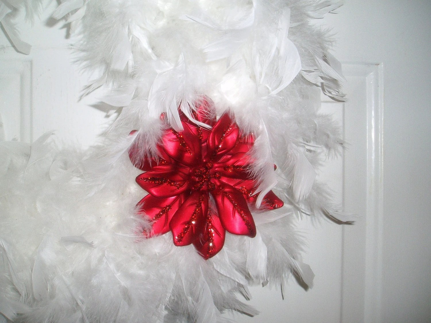White Feather Christmas Wreath Red Poinsetta Ornament by dardawn