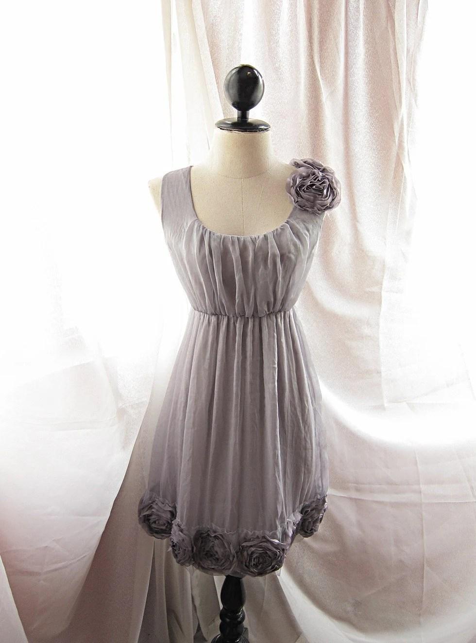 Dreamy Misty Earl Gray Rainy Nostalgia Dusty Rosette Soft Heavenly Chiffon Romantic Marie Antoinette Dress