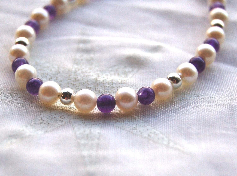 Bracelet - cultured pearl, amethyst, silver