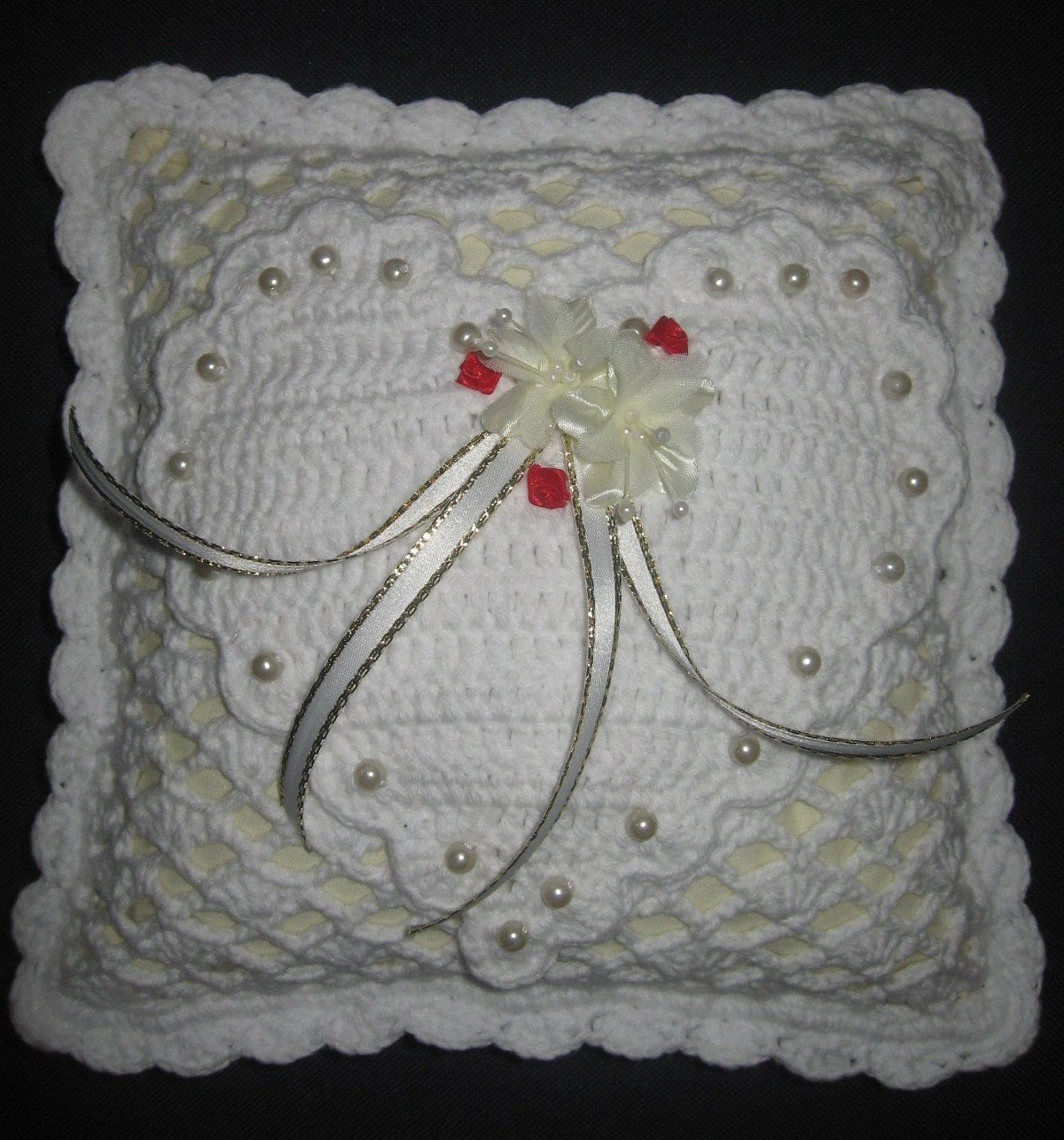 Crochet Wedding Ring Cushion