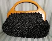 Vintage Walborg Black Raffia Purse