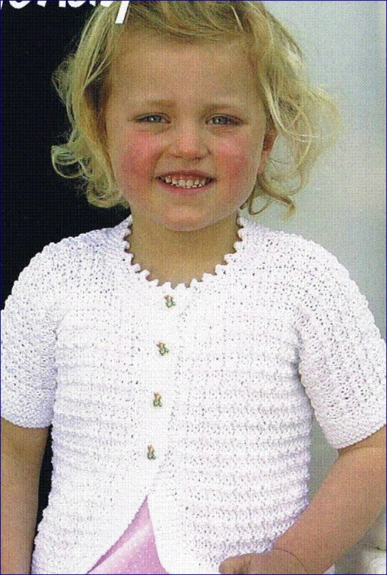 little girls white summer lace cardigan 1 - 2 year old (hand knitted)