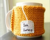 Personalized Tea Mug Cozy Knitted Pumpkin Orange Cup Cozy