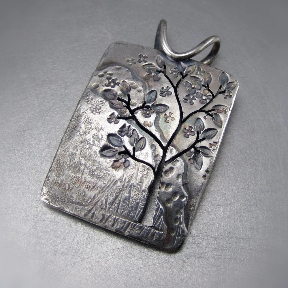 Spring Landscape Tree Silver Tree Pendant