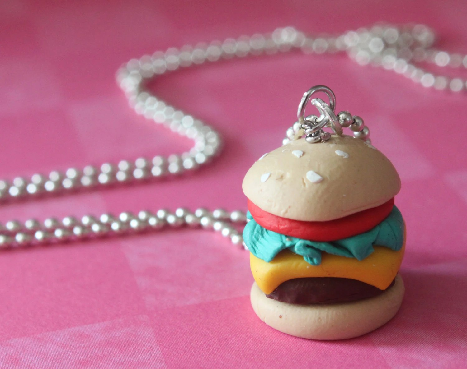 Angus Beef Cheeseburger Necklace -  Handmade with polymer clay - - Cutetreats