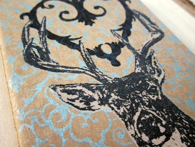 Gocco Screenprint Moleskine Journal - Filigree Heart Deer - Sky Blue - Limited Edition -
