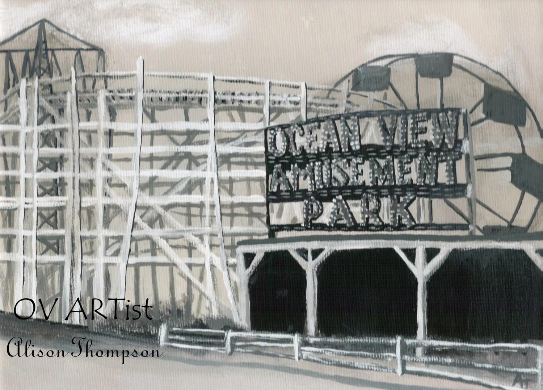 Ocean View Amusement Park  8 x 10 Art Print Signed by Alison Thompson