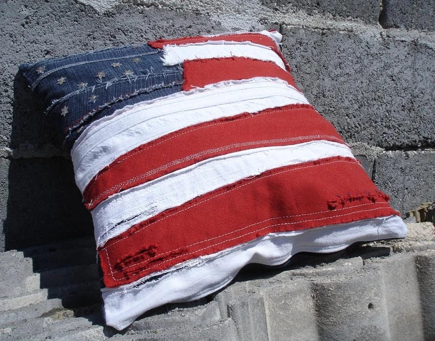 american flag cushion / pillow cover ROCK GRUNGE PUNK