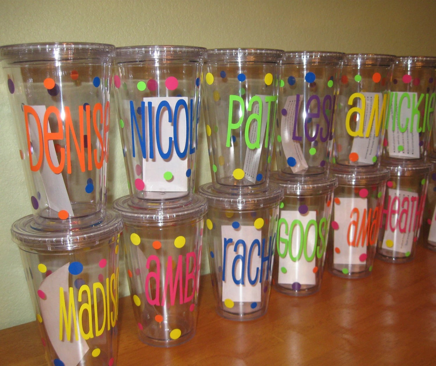 Quantity 12 Personalized acrylic tumbler w/ lid and straw - mix and match any design, Clear or Black cups, name or monogram w/ polka dots