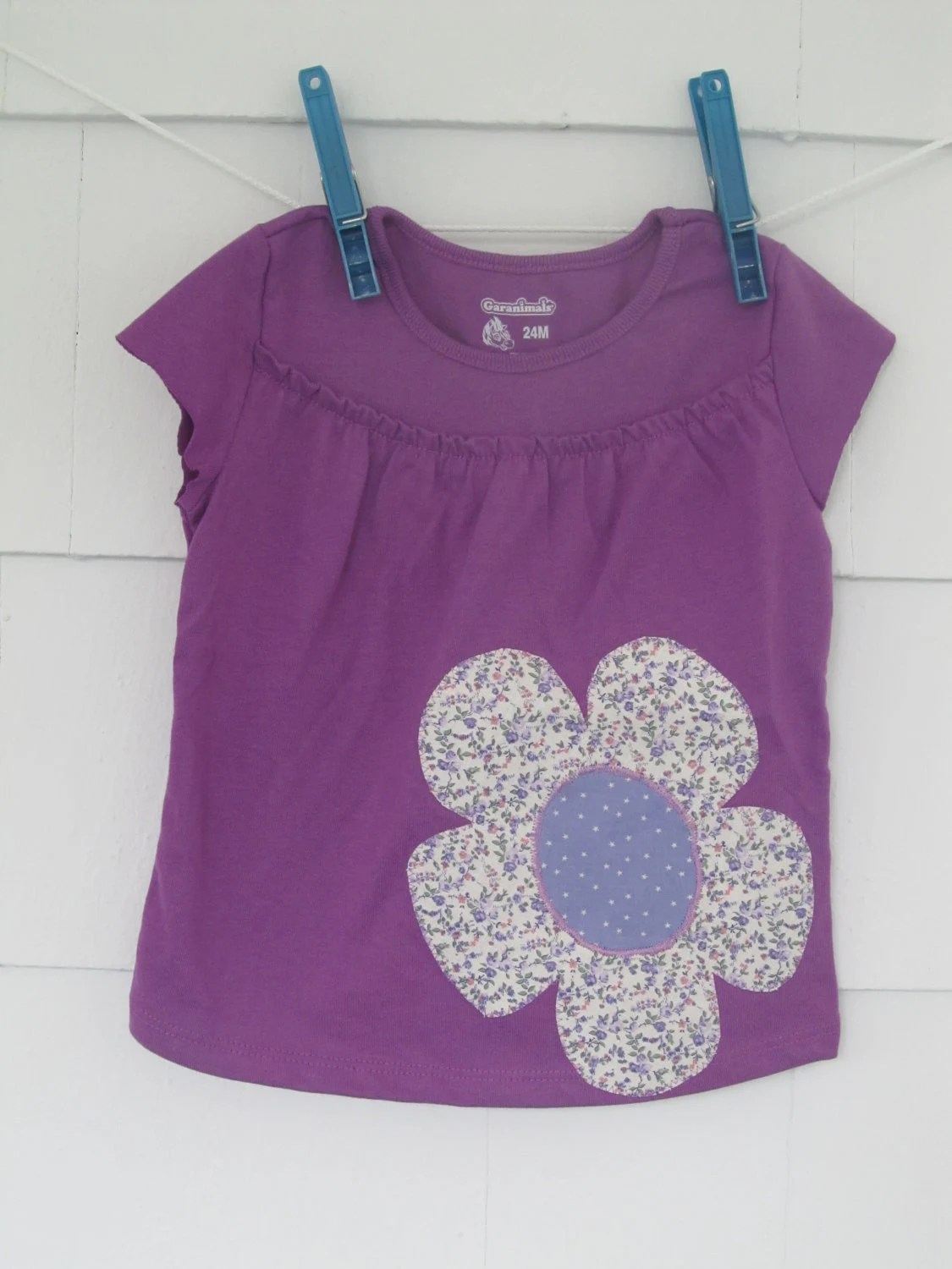 Toddler girl's floral applique short sleeve t shirt,  purplewith vintage floral fabric, 24M
